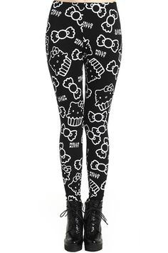Cat Pattern Black Leggings. Description Leggings, crafted from elastic fabric, featuring cat pattern print design, a stretchy waist, and all in a soft-touch stretch fit. Fabric Cotton,Spandex. Washing Cool Hand Wash. #Romwe