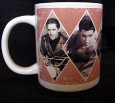 Unique Elvis Presley Blue coffee mug. White with Mauve banner and black & white images of Elvis. An Elvis Presley Signature Product. Shows 6 of his movie roles as an actor. Relax and browse a bit! Wrap around image - Pictures on both Sides. | eBay!
