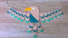 Gros collier aigle totem style aztèque : Collier par magalily