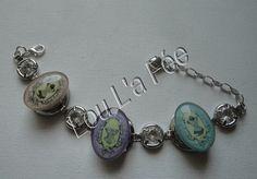 bracelet bouton-pression argenté et ses 3 pressions bustiers : Bracelet par lou-l-a-fee-creations-bijoux-fantaisie