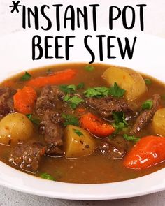 Need something to do?this Instant Pot beef stew? stew Instant Pot Beef Stew Instant Pot Beef Stew: This recipe was adapted from Cooking Light's wildly popular Classic Slow Cooker Beef Stew to create… Beef Recipes, Soup Recipes, Cooking Recipes, Healthy Recipes, Cooking Fish, Delicious Recipes, Pan Cooking, Cooking Pork, Camping Cooking