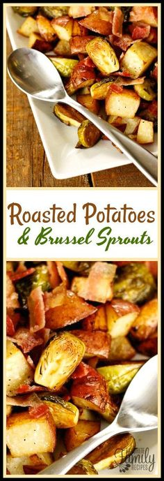 These Roasted Potatoes and Brussels Sprouts are so easy to throw together any time of year! The bacon adds a tasty dimension to the dish - a must try! Side Dish Recipes, Vegetable Recipes, Vegetarian Recipes, Cooking Recipes, Healthy Recipes, Budget Recipes, Healthy Foods, Yummy Recipes, Fast Recipes