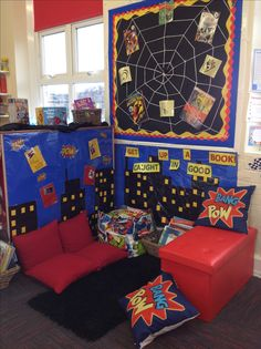 Key Stage One superheroes reading corner. All of our classrooms have a book area.