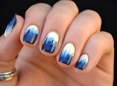 Bleeding Blue Nail Art