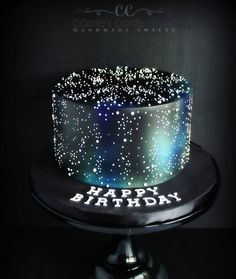 """33 Likes, 1 Comments - Custom Cakes & Handmade Sweets (@cassiesconfections) on Instagram: """"How much fun is this galaxy-themed birthday cake? Celebrating a sweet girl I know! #fondantcake…"""""""