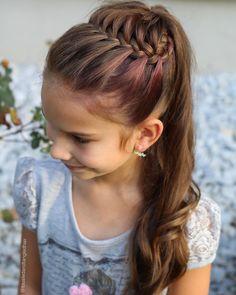 Geflochtene Frisuren - 🌸Today I finally tried the Half Starburst Braided Ponytail style inspired by . Formal Hairstyles For Long Hair, Flower Girl Hairstyles, Princess Hairstyles, Little Girl Hairstyles, Braided Hairstyles, Hairstyles For Children, Wedding Hairstyles, Indian Hairstyles, Summer Hairstyles