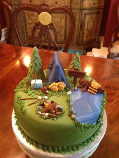 ideas for birthday cake kids fun Camping Birthday Cake, Camping Cakes, Camping Desserts, Cake Birthday, 20th Birthday, Party Desserts, Pretty Cakes, Cute Cakes, Fondant Cakes