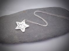 Wish upon a star necklace Star Necklace, Personalized Jewelry, Charmed, Stars, Trending Outfits, Unique Jewelry, Handmade Gifts, Cherry Tree, Silver