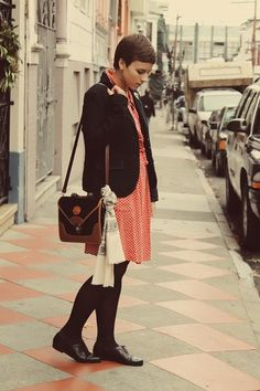 Discover this look wearing Vintage Dresses, Vintage Shoes, Gap Blazers, Vintage Purses - and just like that by missinglovebirds styled for Vintage, Shopping in the Fall Vintage Purses, Vintage Shoes, Vintage Dresses, Red And White Dress, And Just Like That, Blazer, Chic, How To Wear, Shopping