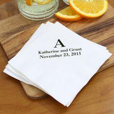 Custom printed white cocktail napkins with black imprint and CSC monogram