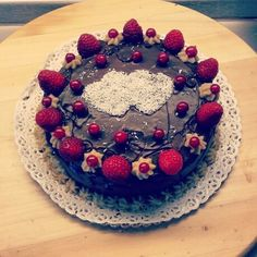 Vegan and sugar Free delicious cake - chocolate and Red fruit and coconut by Always me
