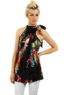Black Halter Neck Pleated Floral Top