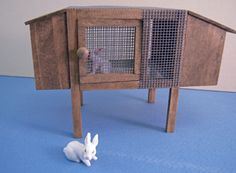 "1"" Scale Miniature Wooden Bunny Hutch"