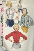 This week's featured pattern is an original ca. 1950's Simplicity Pattern 4215.  Short jacket is styled with a notched collar and a waistband.  View 1 is sleeveless and may be fastened with buttons to neck edge or with one button at waistband.  Saddle stitching is optional.  Welt pockets are placed high on jacket front.  Views 2 and 3 button to neck edge, have long sleeves gathered to wristband and are trimmed with top stitching.  Pockets in View 2 are placed low on jacket front.