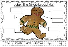 Label The Gingerbread Man! Lots of fun festive literacy activities inspired by the traditional tale! Includes retelling crafts, finger puppets, cvc word work, uppercase and lowercase letter matching, anchor charts and more! Suitable for Kindergarten and 1st Grade.
