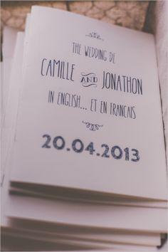 French-English bilingual wedding programs