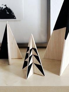 Grafische kerstbomen - DIY: kerstbomen maar dan anders