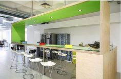 green ceiling in breakout area in office fitout