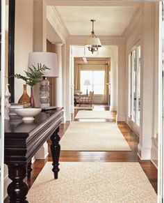 18 best Hallway Decorating Ideas images on Pinterest   Decorating     Great design  Breaking the long hallway linear line by installing recessed  ceilings  laying the