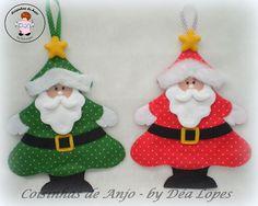 Adornos papá noel Christmas Crafts Sewing, Sewn Christmas Ornaments, Christmas Art For Kids, Christmas Makes, Felt Ornaments, Felt Christmas, Christmas Projects, Christmas Themes, Christmas Tree Decorations