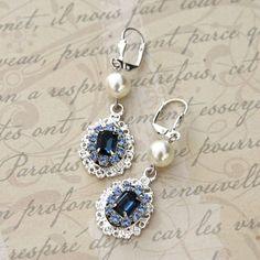 Bridal Earrings Vintage Style Wedding Jewelry Bridesmaid Earrings Sapphire Blue Swarovski Crystal Earrings Swarovski Pearl Earrings