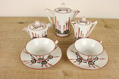 Art deco Handpainted Elté Limoges tea set