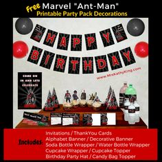 The Free Marvel Ant-Man Party Pack includes Invitations Thank You Cards AlphabetBanner Decorative Banner Soda Bottle Wrapper Water Bottle Wrapper Birthday Party Hat Cupcake Wrapper Cupcake Topper Candy Bag Topper (Click on the image download}