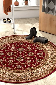 Noble Sarouk Red Persian Floral Oriental Formal Traditional 8 Round 710