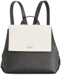 kate spade new york Cameron Street Small Neema Backpack - Black/cement Backpack Online, Backpack Purse, White Leather Backpack, Leather Backpacks, Backpack Reviews, Ankle Strap High Heels, Fashion Handbags, Handbag Accessories, Purses And Bags