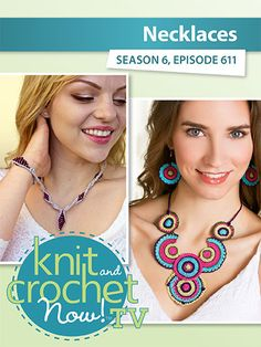 Andi Javori has designed the very special Paloma Necklace & Bracelet, which Drew demonstrates. Ellen works the crochet Boho Circles & Ring by Joyce Bragg. Lena shows the Chunky Lace Scarf. Knit And Crochet Now, Annie's Crochet, Chrochet, Crochet Crafts, Bead Kits, Lace Scarf, Circle Necklace, Knitting Yarn, Free Pattern