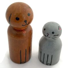 Peg Doll Pets  Cat and Dog  Peg Animals  by ScribbleBotStudio