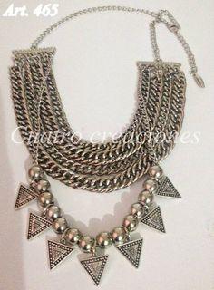 Collar Pechera Con Triangulos - $ 230,00 en MercadoLibre Metal Jewelry, Silver Jewelry, Girl Gang Aesthetic, Jewelry Accessories, Jewelry Design, Diy Earrings, Jewelry Crafts, Wedding Jewelry, Chokers