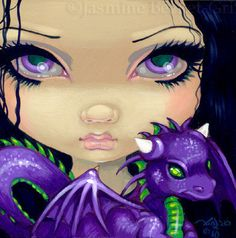 Faces of Faery 88 purple dragonling big eye fairy face art print by Jasmine Becket-Griffith 6x6
