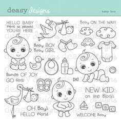 Sello digital arte Baby Boo por DeasyDesigns en Etsy