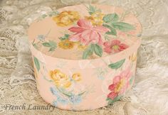 new hatbox covered with vintage wallpaper from frenchlaundryblog.blogspot.com