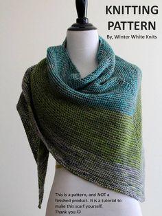 Knitting Pattern knit shawl knit scarf pattern PDF Instant