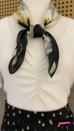 Square Scarf How To Wear A, Ways To Wear A Scarf, How To Wear Scarves, Scarf Wearing Styles, Scarf Styles, Scarf Knots, Diy Scarf, Fashion Sewing, Diy Fashion