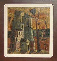 Inos Corradin - Casarios - Óleo sobre tela - fase antiga do artista - 110cmx100cm - com moldura mede