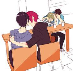 RinHaru with Makoto and Sousuke(<< I see your arm around Makoto, Sousuke YOU CAN'T FOOL MEEEEEEEE #otps
