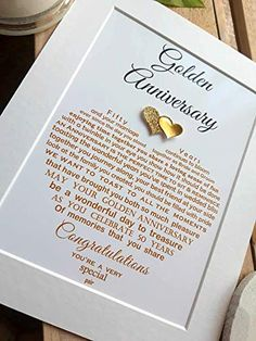 Personalised Golden Wedding Anniversary Gifts, UNFRAMED Grandparents 50th Wedding Anniversary Auntie Uncle, Mum Dad, Friends Unframed print for 10x8 frame (not supplied): Amazon.co.uk: Handmade Golden Wedding Anniversary Gifts, Happy Anniversary, Unique Words, Glitter Hearts, Amazon Gifts, Auntie, Grandparents, Note Cards, Wedding Cards