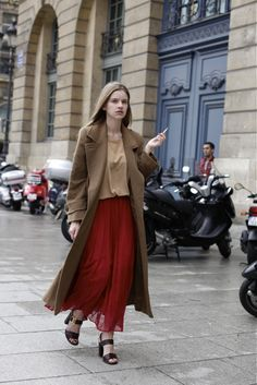 Red maxi skirt w/ camel long coat