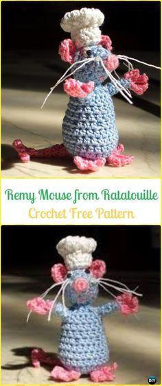 Crochet Remy Mouse from Ratatouille Amigurumi Free Pattern - Amigurumi Crochet Mouse Toy Softies Free Patterns