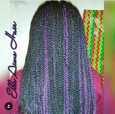 Black and purple Senegalese Twists