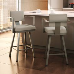 Bar Stools with Backs for Inspiring High Chair Design Ideas: Unique Gray Bar Stools With Backs And White Countertop Plus Cozy Lowes Tile Flooring For Modern Kitchen Design