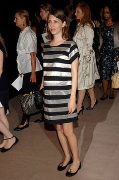 d2bc56dce3a Sofia Coppola Pregnant in metallic stripes at the Spring 2007 Marc Jacobs  show on Sept.