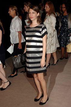 Sofia Coppola    Pregnant in metallic stripes at the Spring 2007 Marc Jacobs show on Sept. 11, 2006.