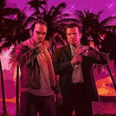 Trevor Philips & Michael De Santa Trevor Philips, V Games, Video Games, Grand Theft Auto Games, Saints Row, Illustration Art, Illustrations, Bowling, Gaming