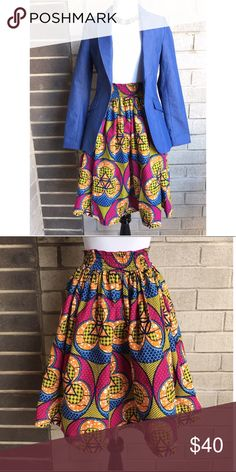 African Print Skirt Gently worn. Elastic waist fits a size s/m. No pockets and is not lined underneath. Lightweight. handmade Skirts Midi