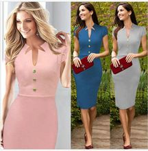 Cheap pencil, Buy Quality dress clothes for work directly from China pencil dress Suppliers: 2015 Women V-neck Slim Vintage Single Breasted Peplum Wear To Work Cocktail Party Business Vestido Casual Bodycon Penci Pin Up Dresses, Sexy Dresses, Dress Outfits, Short Dresses, Dresses For Work, Fashion Outfits, Fashion 2015, Dress Clothes, Elegant Dresses