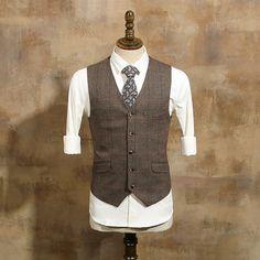 Brown Vintage Mens Plaid Suits Single Breasted Winter Suit Men 3 Pieces Tuxedo Tweed Wedding Suits For Men Elegant Costume Homme